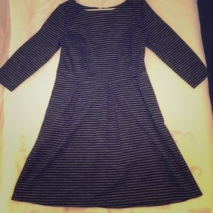 Modest Gray and Black Striped Dress